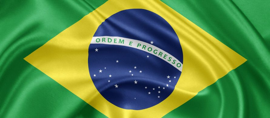 Flag of Brazil waving with highly detailed textile texture pattern